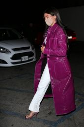 Kylie Jenner in a Purple Designer Trench Coat at Craigs in West Hollywood 03/07/2021