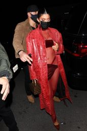 Kylie Jenner in a Red Ensemble - West Hollywood 03/25/2021