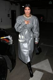 Kylie Jenner Wearing a Leather Trench Coat in Beverly Hills 03/27/2021