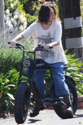 Lena Headey - Rides Her Electric Motorbike 03/16/2021
