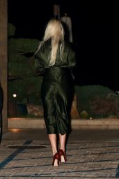 Lindsey Vonn Looks Chic in an Olive Green Gown at Nobu in Malibu 03/01/2021