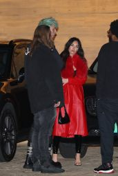 Megan Fox Weaning a Long Red Leather Trench Coat and PVC Pants - Nobu in Malibu 03/18/2021