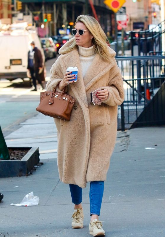 Nicky Hilton in a Brown Teddy Bear Coat in Downtown Manhattan 03/08/2021