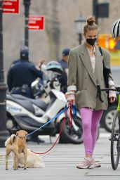 Nina Agdal - Walking Her Dogs in NYC 03/26/2021