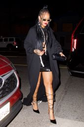 Rihanna in Black Skirt at Giorgio Baldi in LA 03/28/2021