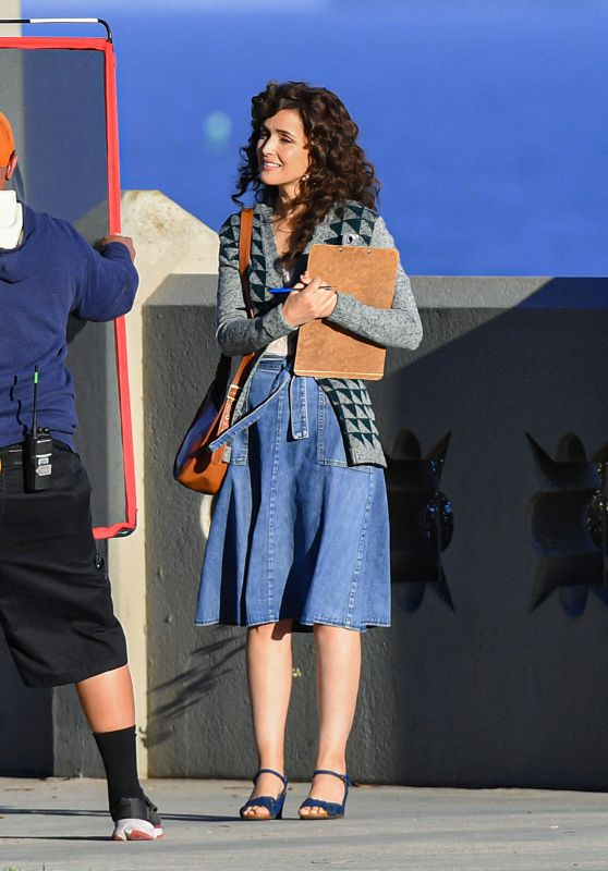"""Rose Byrne in a Retro Denim Outfit - """"Physical"""" Set in LA 03/09/2021"""