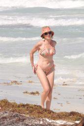 Rose McGowan in a Multi-Coloured Bikini - Beach in Tulum 03/23/2021