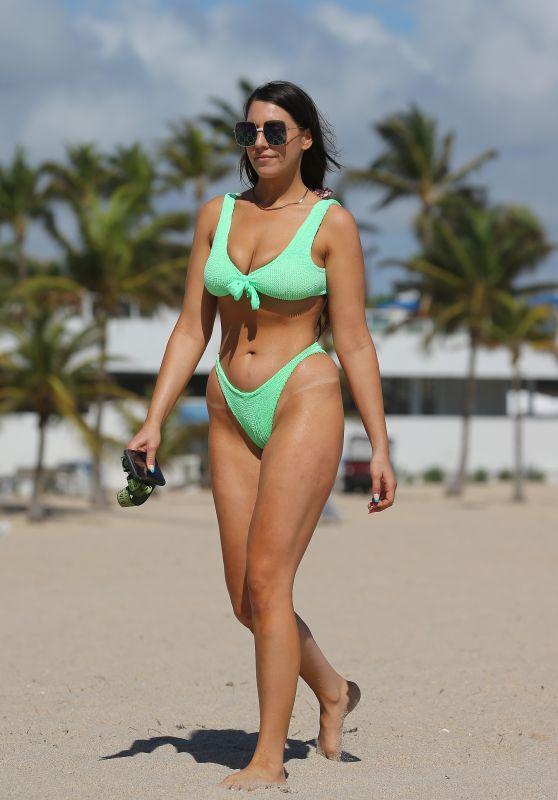 Victoria Larson in a Neon Green Bikini - Beach in Ft. Lauderdale 02/27/2021
