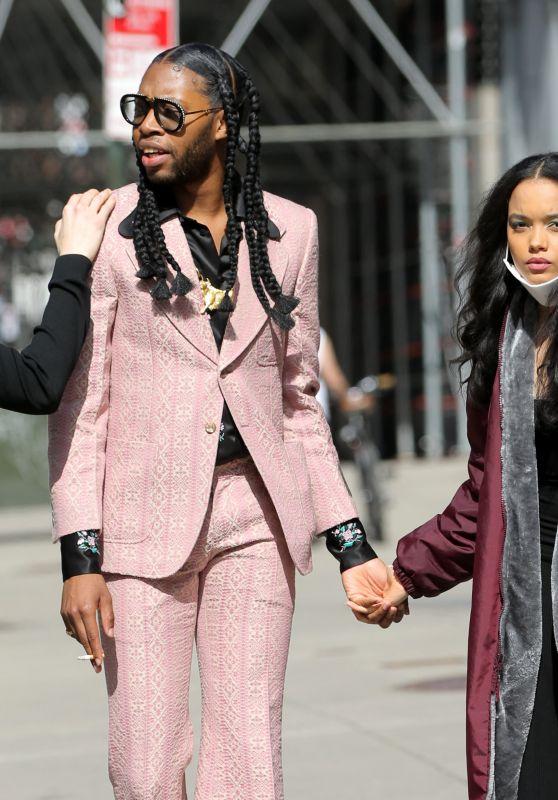 """Whitney Peak - """"Gossip Girl"""" Filming Set in New York 03/23/2021"""