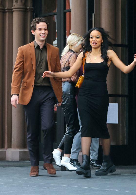 "Whitney Peak, Joshua Safran and Eli Brown - ""Gossip Girl"" Set 03/24/2021"