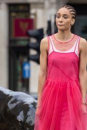 Adwoa Aboah - Shoots a Commercial in Trafalgar Square in London 04/08/2021