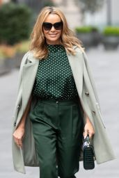 Amanda Holden in a Green Polka Dot Silk Top and Suit Trousers 04/29/2021