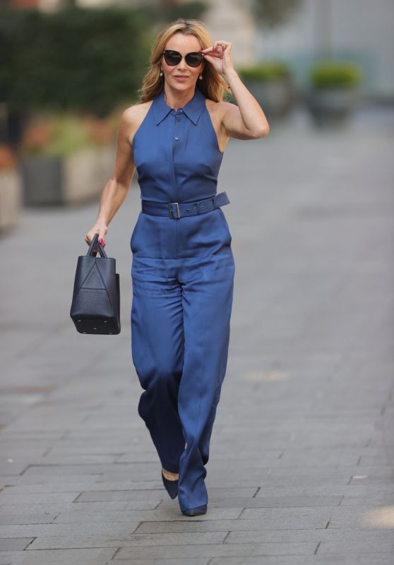 Amanda Holden in Blue Cotton Jumpsuit at Heart Radio in London 04/20/2021