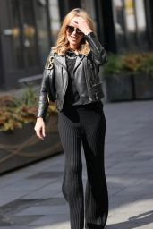 Amanda Holden in Leather Jacket and Dior Saddlebag 04/30/2021