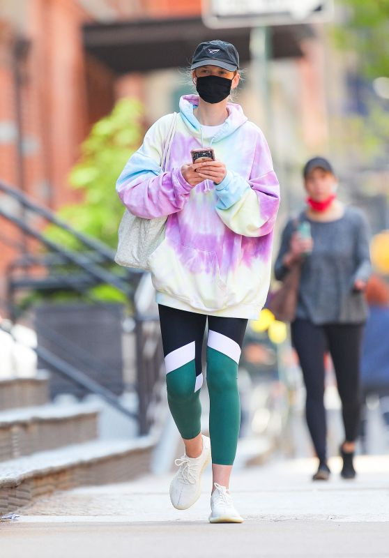 Ana Vyalitsyna in a Tie-Dye Top in New York City 04/21/2021