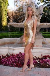 Anya Shevchenko in a Gold Backless Mini Dress at Taglyan Complex in Hollywood 04/29/2021