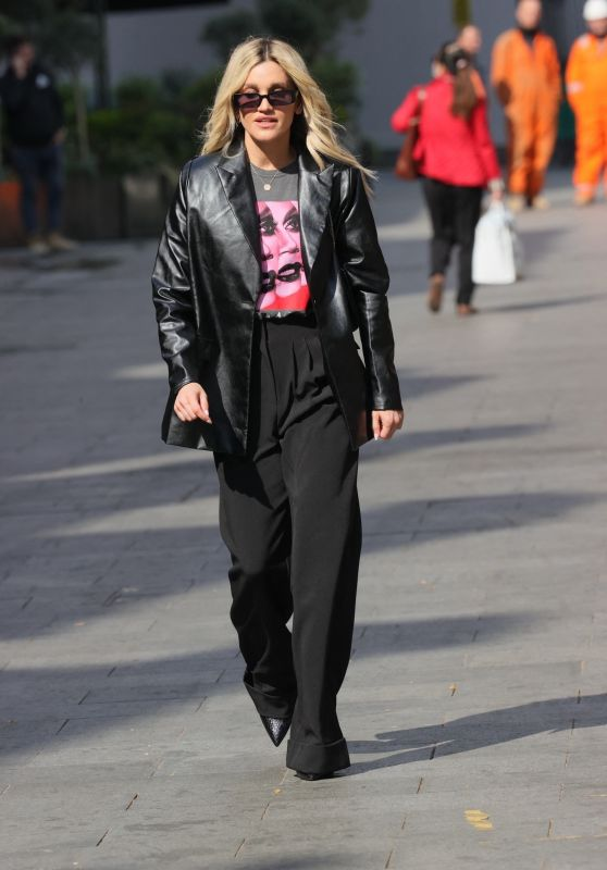 Ashley Roberts in a Print T Shirt and Black Trousers 04/21/2021