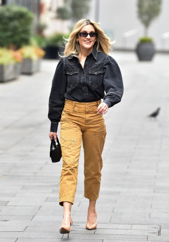 Ashley Roberts in Black Denim Shirt and Camel Culottes 04/28/2021