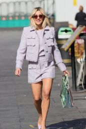 Ashley Roberts in Lilac Shorts and Matching Top in London 04/19/2021