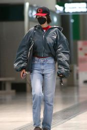 Bella Hadid in Travel Outfit at Milan Airport 04/12/2021