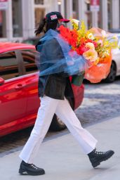 Bella Hadid With a Huge Bouquet of Flowers in New York 04/23/2021