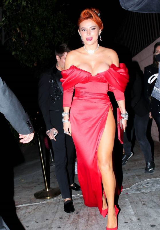 Bella Thorne in Red Gown - Arrives For Her Engagement Party in West Hollywood 04/24/2021
