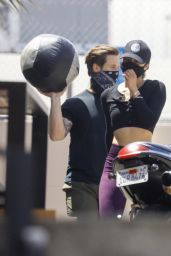 Cara Santana - Using a Medicine Ball at Rise Nation Gym in West Hollywood 04/26/2021