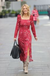 Charlotte Hawkins in High Split Red Dress and Suede Boots 04/15/2021