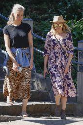 Dannii Minogue in a Floral Frock - Melbourne 03/31/2021
