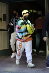 Demi Lovato in Colorful Tie Dye Hoodie - Beverly Hills 03/31/2021