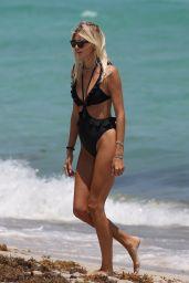 Devon Windsor in a Black Ruffled Swimsuit - Miami 04/14/2021