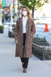 Dianna Agron in a Leopard Print Overcoat in New York 04/13/2021