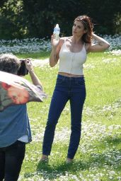 Elisabetta Canalis - Shooting the commercial at a Park in Rome 04/13/2021