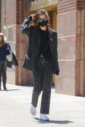Emily Ratajkowski in a Navy Blue Striped Suit 04/27/2021