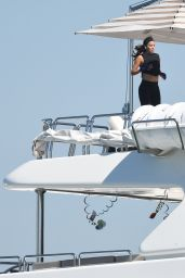 Eva Longoria - Jumping on a Trampoline While on a Yacht in Miami 04/14/2021