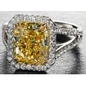 Forevermark Exceptional Radiant Vivid Yellow Ring with Halo and Split Shank
