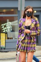 Irina Shayk in Vivienne Westwood Plaid Blazer and Miniskirt 04/28/2021