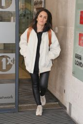 Janette Manrara in Leather Trousers and Cream Jacket on Morning Live in London 04/14/2021