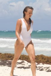 Julianne Hough in a White Swimsuit at the Beach in Tulum 04/29/2021