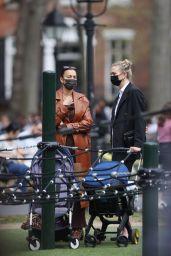 Karlie Kloss and Irina Shayk at Washington Square Park in NY 04/11/2021