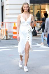 Kelsey Soles in a White Summer Dress in New York City 04/20/2021
