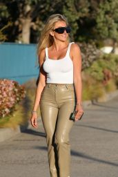 Khloe Terae in Army Green Leather Pants and a White Tank Top in Marina Del Rey 04/20/2021