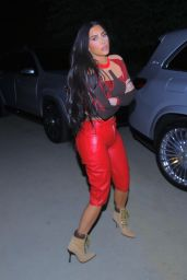 Kim Kardashian in Flame-Red Pants - West Hollywood 03/31/2021