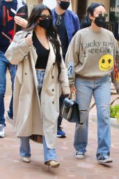 Kourtney Kardashian Wears a Plunging Black Crop Top and Tan Trench Coat at Taverna Tony in Malibu 04/06/2021