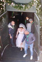 "Lady Gaga Wears a Wedding Dress - ""House of Gucci"" Set in Rome 04/08/2021"