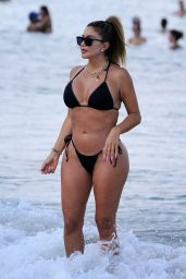 Larsa Pippen in a Black Bikini at the Beach in Miami 04/25/2021