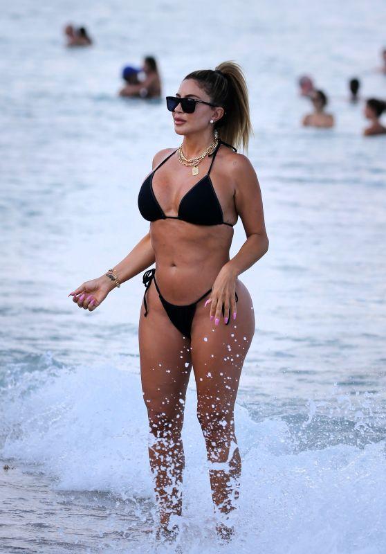 Larsa Pippen in a Black Bikini at the Beach in Miami 04/25/2021