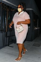 Lizzo in a Pink and White Striped Dress at Crossroads Kitchen in LA 04/13/2021