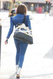Lucy Horobin in a Skin Tight Denim Jumpsuit 04/15/2021