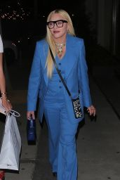Madonna in Blue at Craig's in West Hollywood 04/20/2021